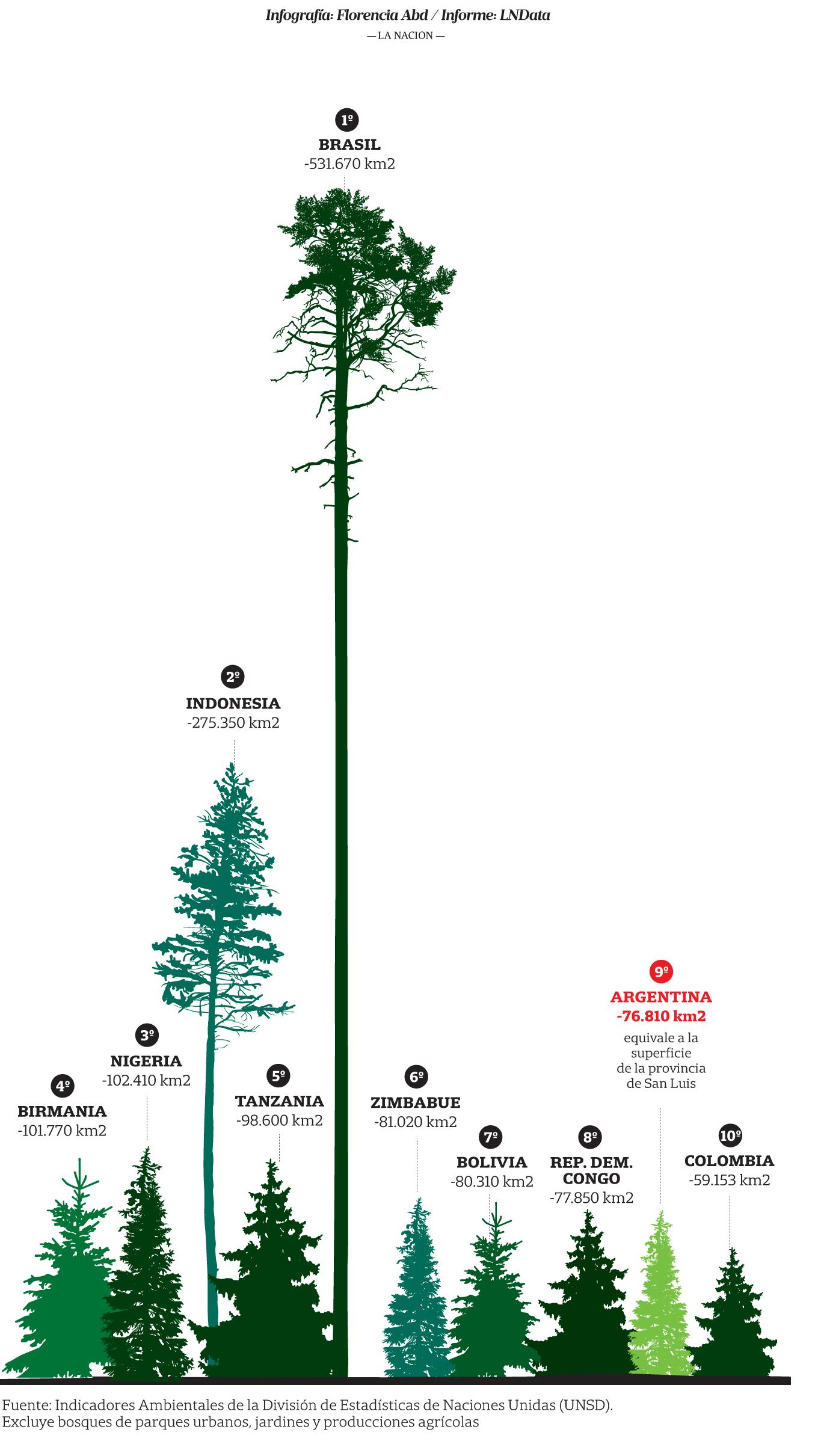 Los diez países que perdieron mayor superficie de bosque en los últimos 25 años - Fuente La Nacion Online, 17 Enero, 2017